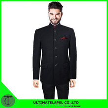 2015 Men's new style Stand collar suit 100% wool black five buttons Chinese suit