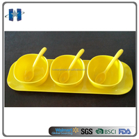 High quality 7pcs square melamine sauce bowl and spoon with melamine tray
