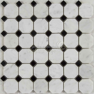 Black and white natrual stone no water absorption marble mosaic tiles