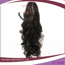 black with little white ponytail women deep wave hairpiece