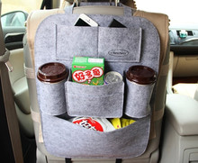 Car back seat hanging storage bag made of felt with many pockets