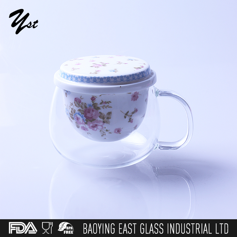 European style wind Cheap small thin glass tea /coffee /water flower cup