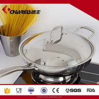 2016 High quality golden charms three layers steel cover 32 cm non-stick frying pan with ss lid