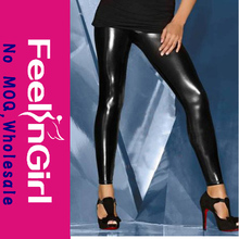 High quality wholesale hot girls sexy shiny tight black leather leggings