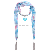 Floral Multicolor Scarf Necklace Scarves with Silver Tassel and Titanic Ocean Heart Pendant for Women(SC150017)