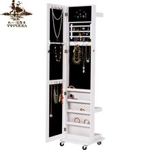 High Glossy Full Length Rotating Tall Mirror Jewelry Cabinet