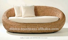 Indoor oval sofa by rattan/wood/water hya cinth and price