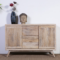 chinese antique -style reclaimed elm wood four drawers and two doors wooden cabinet