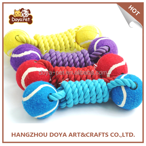 Pet Products Dog Toys Dog Cotton Rope Dog Chew Toys With Tennis Ball Pet Toys