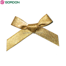Wholesale Custom Gold Metallic Glitter Ribbon Bow for Apparel Decoration