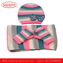 2016 fashion 100%acrylic kids scarf gloves and hat