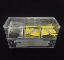 3 compartments clear acrylic flavoring tableware storage box with lid