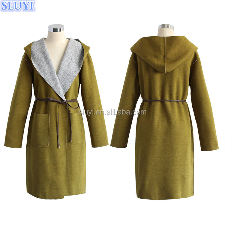european fashion ladies overcoat designs winter jacket women long cardigan cashmere wool versatile hooded overall coat in olive