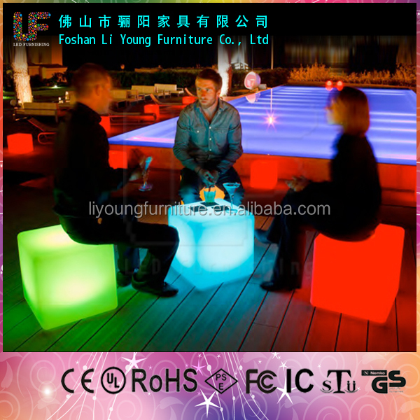 PE Plastic Waterproof led cube for wedding party decoration indonesian products LGL01-0772