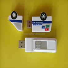 White Plastic USB Flash Drive with 16GB Capacity, ,Made of Plastic The material