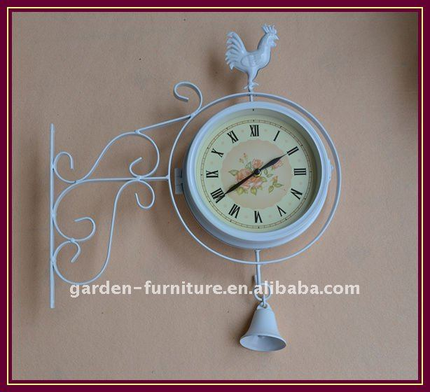 home decor metal art crafts wrought iron Wall Clock with Rooster & Bell