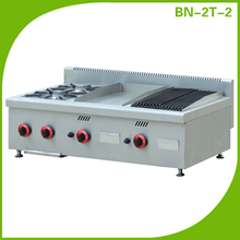 Commercial counter Top Gas range 2 Burner with griddle & lava rock grill BN-2T-2