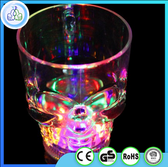 14oz plastic led skull glass cup