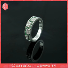 wax micro pave setting silver men green cz stone rings