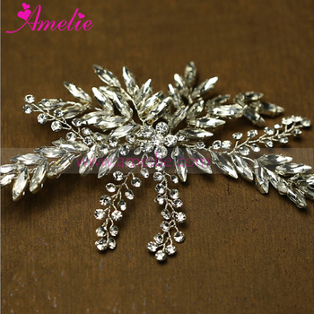 Victorian Handmade Silver Color CZ Rhinestones Wedding Hair Clip Hair Jewellery