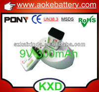 9V 300mAh li-po rechargeable battery for meters