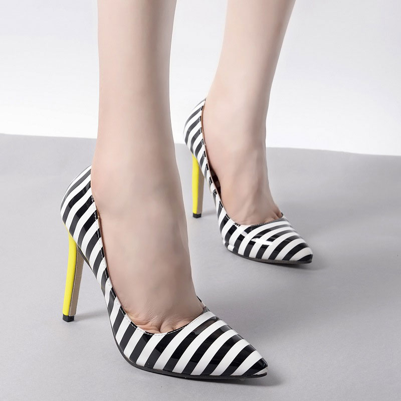 Custom pointed toe 10 12 cm high heel Zebra stripes red chief shoes for women pumps 2016 styles