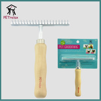 Private label Pet rake comb with natural wooden Handle for horse sheep dog grooming