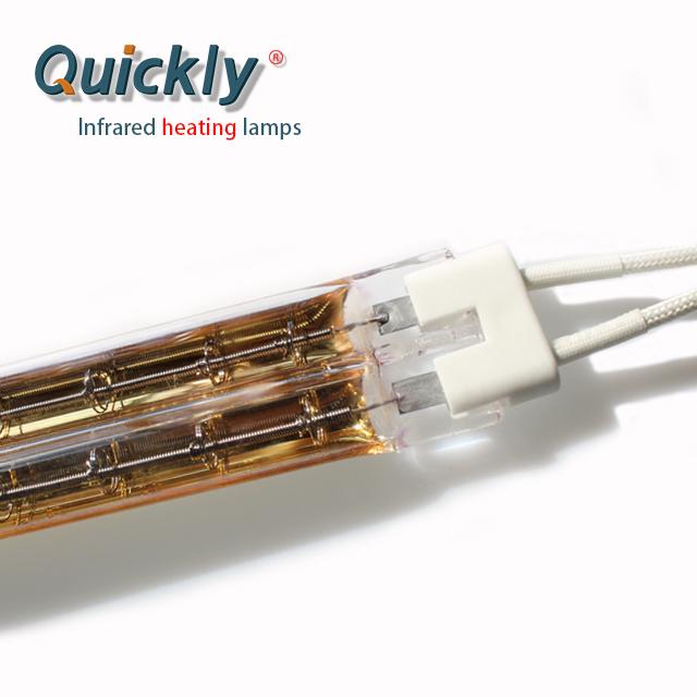Tubular quartz twin golden heat lamp for greenhouse solar warming