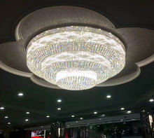 Custom large round ballroom wedding Banquet decoration cristal lamp LED hotel chandeliers crystal ceiling Light
