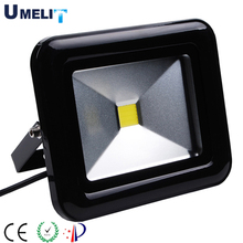 5000 Lumen 50W LED floodlight with matt black painted outer casing with clear tempered safety glass lens
