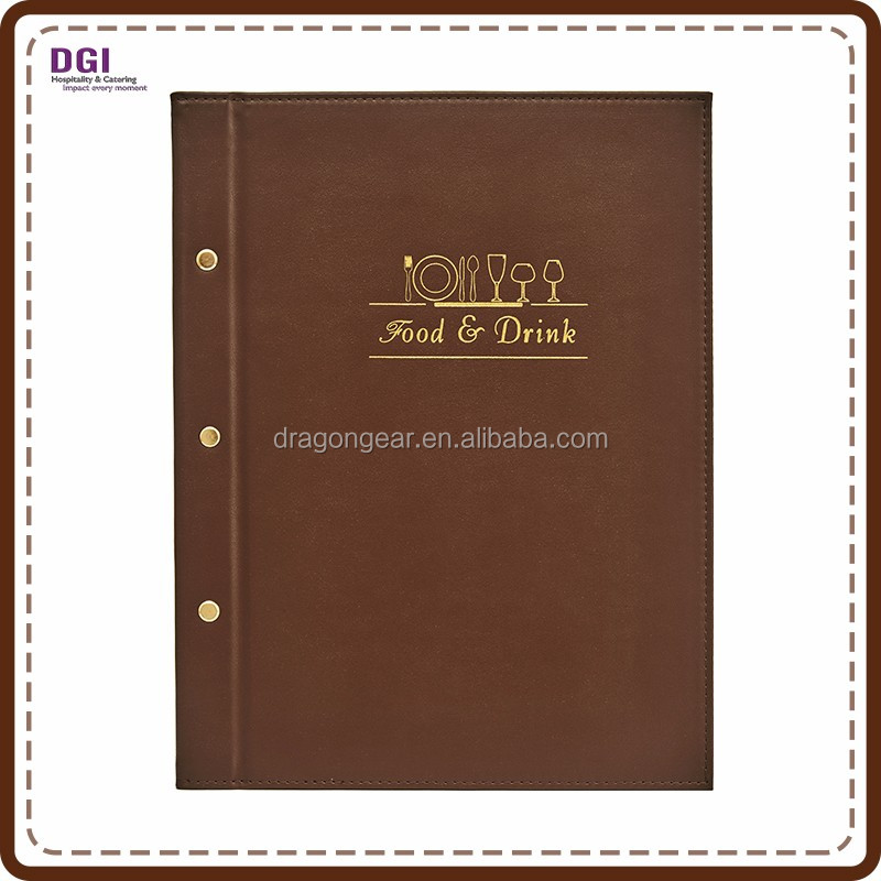 Hotel Restaurant Supplies gold foil logo faux leather a4 size paper menu cover