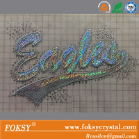 Eagles Sequins Motif Rhinestone Lettering Heat Transfer Iron On Clothes Sticks