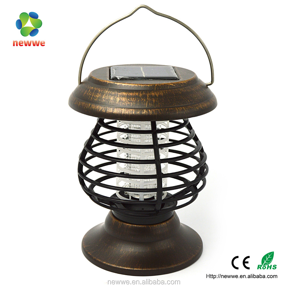Solar power outdoor waterproof UV electronic mosquito trap fly killer lamp insect fly lantern