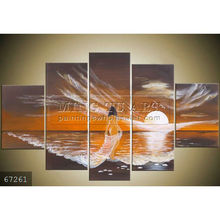 100% Hand made 5 pieces of newest modern nude woman body painting group art on canvas