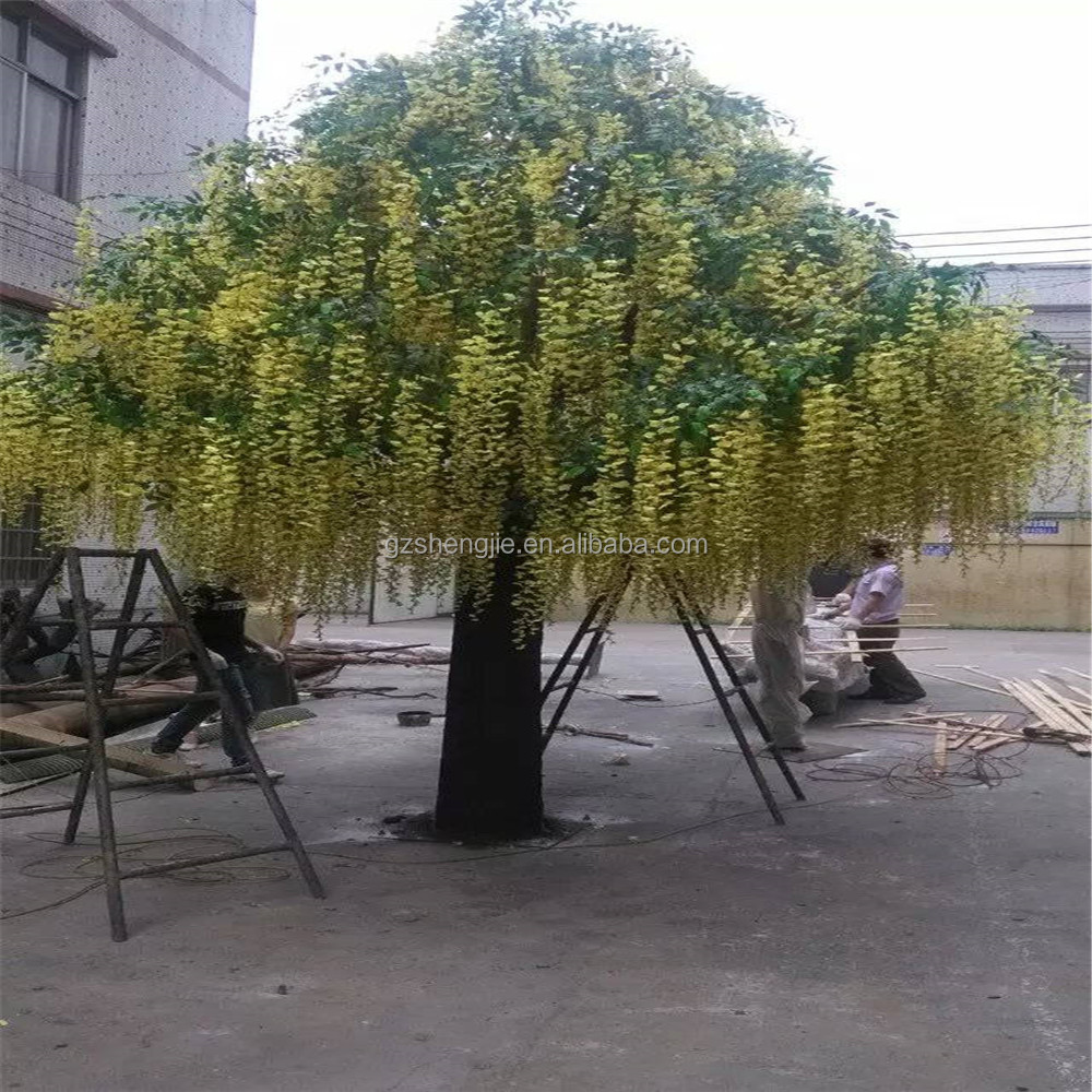 SJ201710030 China manufacturer artificial yellow pudding flower blossom tree