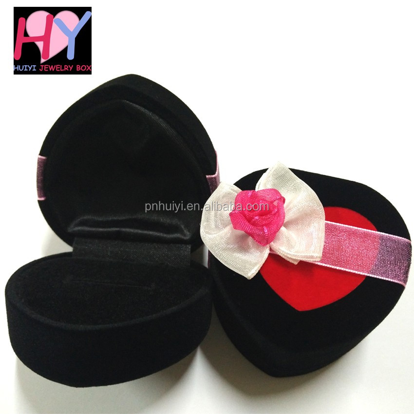 Elegant heart shape ring jewellery gift box with ribbon organza flower