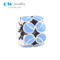 Blue Glazed Authentic 100% 925 Sterling Silver Beads Charms Women Jewelry DIY Fits European Bracelet Necklace