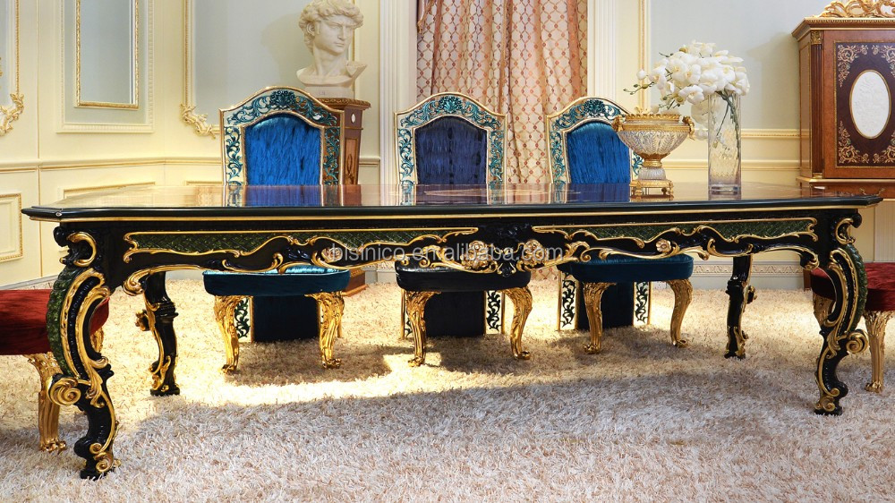 French New Fashion Neo-Classic Marquetry Luxury Dining Table Set/ Fantanstic Vivid Wooden Carving Dining Room Furniture 8 People
