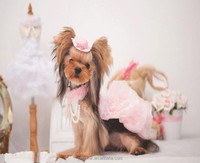 Dog clothes dog wedding dress with pearl