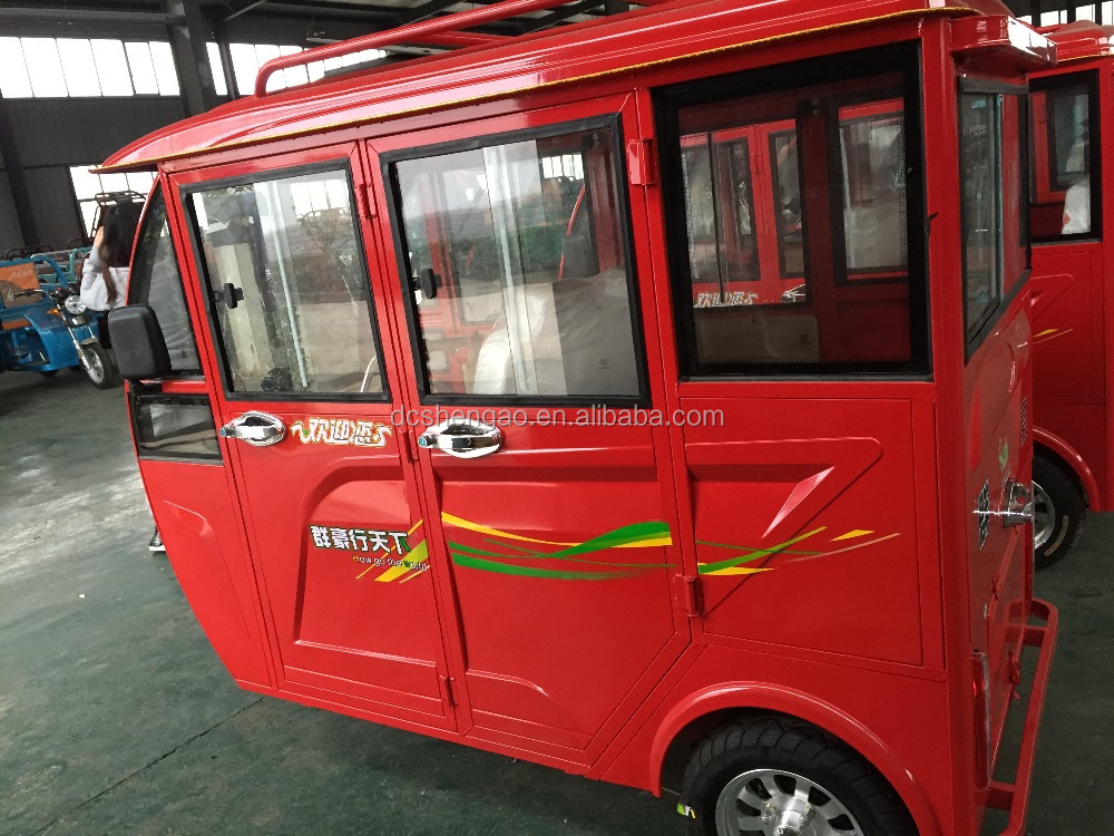 motorized power tricycle/rickshaw for passenger with closed body