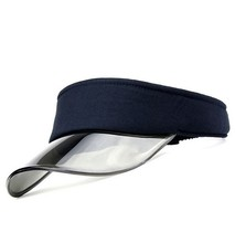 Wholesale Fashion Navy PVC Bill Sun Visor Caps Satin Polyester Open Crown With Cheap Pricing
