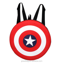 Funny Red Polyester 20L Avengers Captain America Shield School Backpack Bag