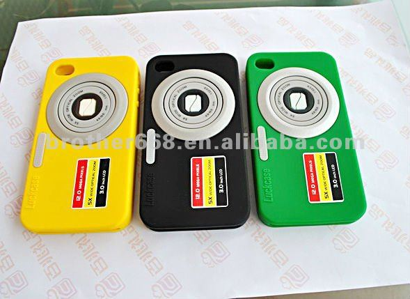 2014 OEM fashion silicone mobile phone case camera shape special design