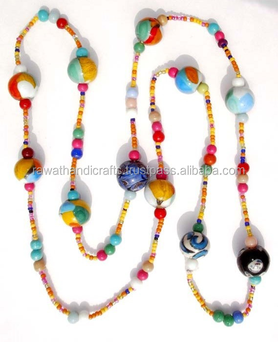Multy colour Seed beads Designer Handmade Antique Gold plated necklace jewelry