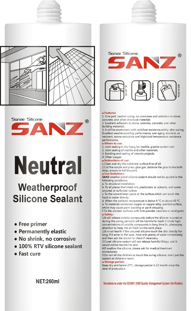 SANZ Neutral weatherproof silicone sealant for windows and door
