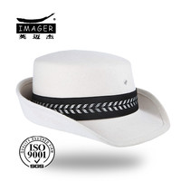 Chinese white superior navy bucket hat with silvery band