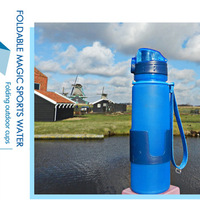 Manufacturer provide foldable silicone water bottle without BPA, flip top plastic collapsible water bottle