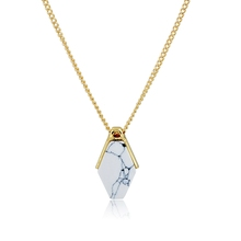 Name Brand Design Fashion Geometric White Faux Marbled Stone Pendant Necklace