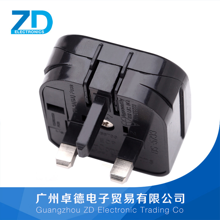 Black British plug power converter English-style pin AC Anglicism bnc connector plugs