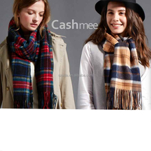 Women winter plaid cashmere scarf and shawl